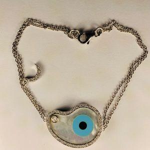 18K Gold/Diamond Evil Eye Bracelet